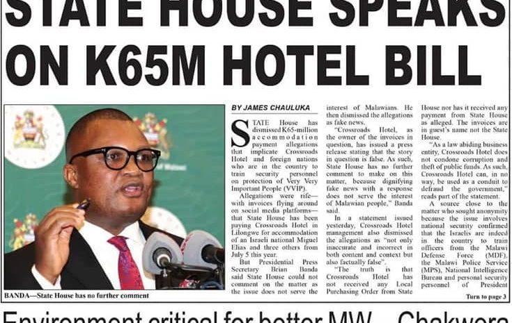 [Press Statement]HOTEL BILLS SAGA: PRESIDENT CHAWKERA SHOULD EXONARATE HIMSELF BY SUSPENDING THOSE IMPLICATED