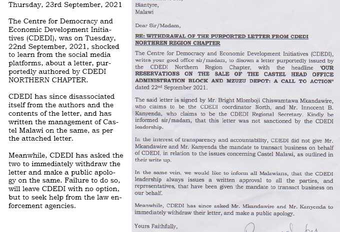 Ignore CDEDI NORTHERN CHAPTER Letter